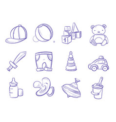 doodle kids toys hand drawing set vector image vector image