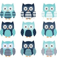 Navy and Aqua Cute Owl set vector image vector image