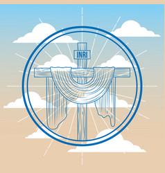 Sacred cross catholicism religion in sky symbol vector