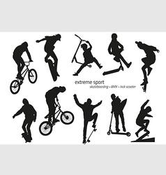 Extreme sport silhouette - skateboarding kick vector image vector image