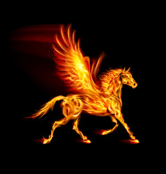 fire pegasus in motion on black background vector image vector image