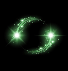 glittering star dust circle of lights green color vector image