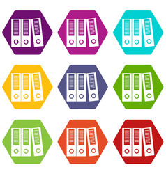office folders icon set color hexahedron vector image