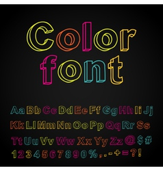 Abstract color hand drawing font vector image vector image