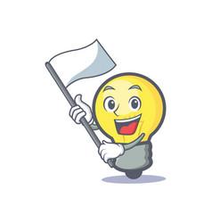 Light bulb character cartoon with flag vector