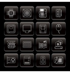 line computer performance and equipment icons vector image