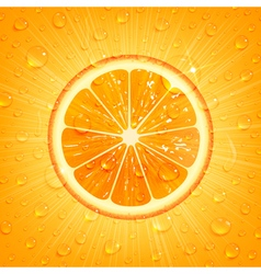 Orange Background with Water Drops vector image