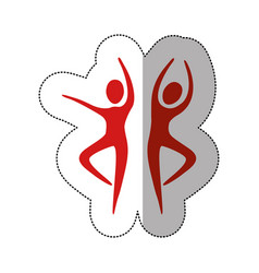 Red people dancing together icon vector