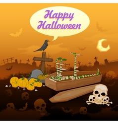Skelton in Halloween night vector image