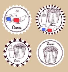 Sketch cinema food logotype vector image vector image