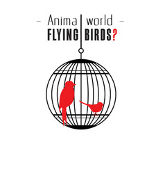 animal world flying birds bird cage background ve vector image