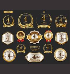 anniversary golden laurel wreath and badges 4 vector image vector image