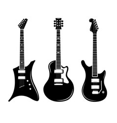 black guitar icons acoustic and electric vector image vector image