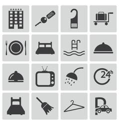 black hotel icons set vector image