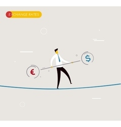 Businessman walking on tightrope balancing vector image vector image