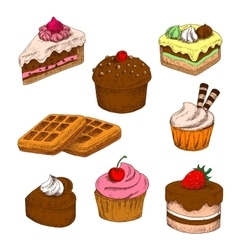 Colored sketches of cakes cupcakes and waffles vector image vector image