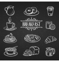 Decorative hand drawn icons breakfast foods vector image vector image