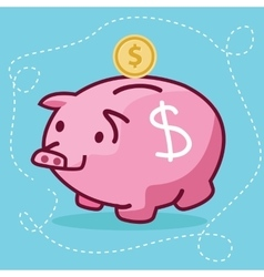 fat piggy bank coin insert drawing flat fun vector image vector image