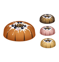 four bundt cake topped with sugar glaze and bluebe vector image vector image