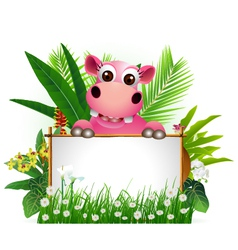 funny hippo with blank sign vector image