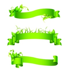 Green Empty Ribbons and Banners vector image vector image