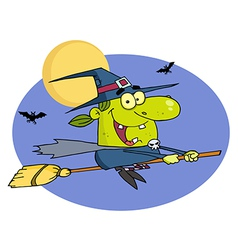 Witch Flying By Bats And A Full Moon On A Broom vector image vector image