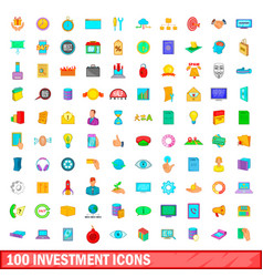 100 investment icons set cartoon style vector image