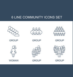 6 community icons vector