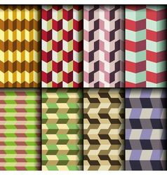 8 retro seamless patterns vector