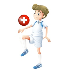 A soccer player with the flag of Switzerland vector image vector image