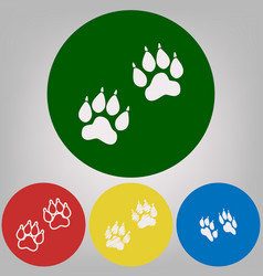 Animal tracks sign 4 white styles of icon vector
