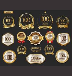 Anniversary golden laurel wreath and badges 100 vector