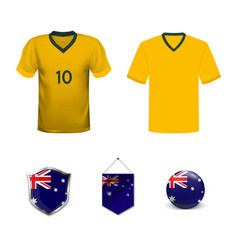 Australia flag button with global soccer event vector