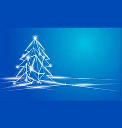 background with glowing polygonal christmas tree vector image