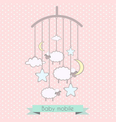 bamobile with little lambs stars moon and vector image