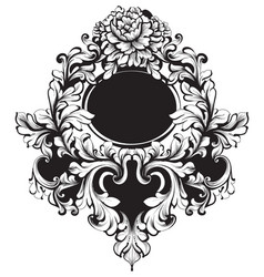 baroque round frame classic rich vector image