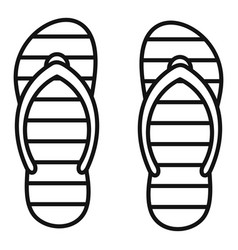 Beach slippers icon outline style vector