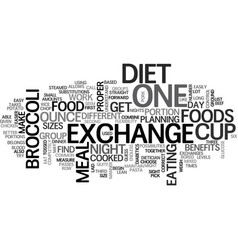 Benefits of the exchange diet text word cloud vector