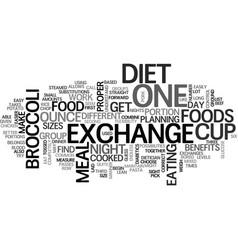 Benefits of the exchange diet text word cloud vector