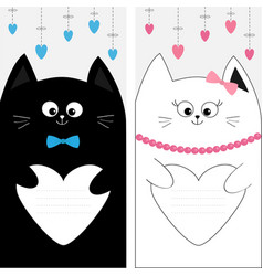 Black white cat kitty family couple holding heart vector