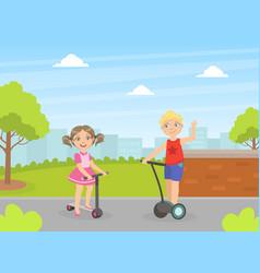 Boy and girl riding kick and self balancing vector