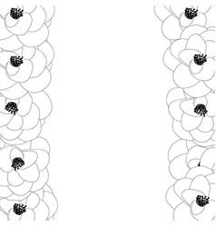 Camellia flower outline border vector