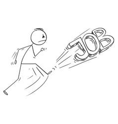 cartoon angry man kicking out job text vector image