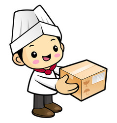 cartoon chef character move the box isolated on vector image