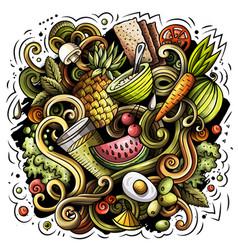 Cartoon doodles diet food vector