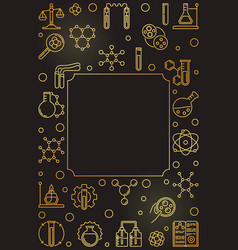 chemistry science vertical golden frame vector image