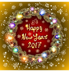 Christmas happy new year 2017 gold wreath gold vector image