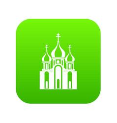 Church building icon digital green vector