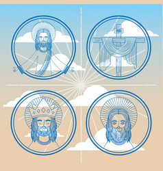 collection face jesus faith religion on sky vector image