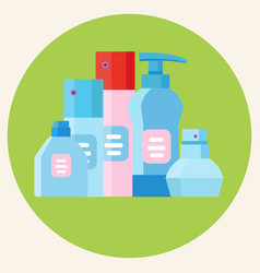 colored plastic bottles vector image